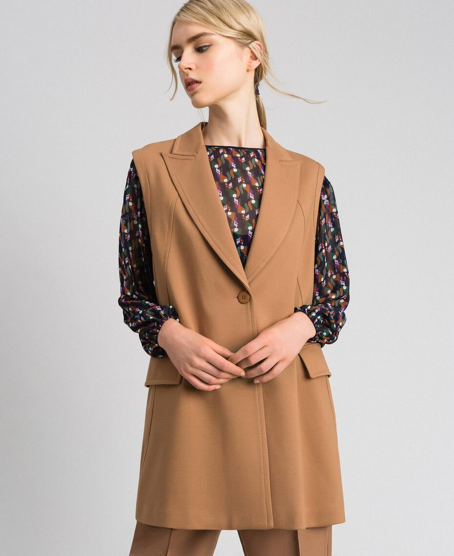 "Single breasted waistcoat with lapels and buttons ""Sequoia"" Beige Woman 192ST2132-02"