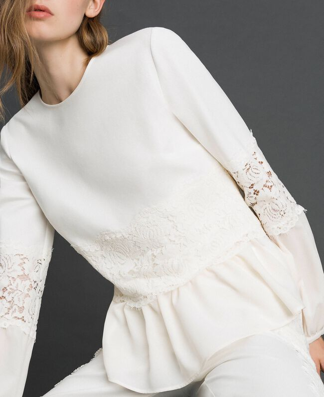 Blusa con pizzo macramè e balza Bianco Neve Donna 192TT2213-01