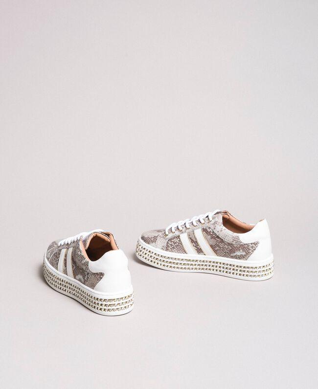 Leder-Sneakers mit Strasssteinen Silber Frau 191TCP170-03