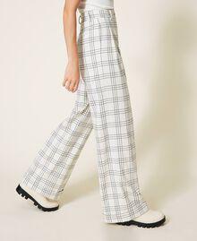 """Wool blend wide leg trousers Two-tone """"Snow"""" White / Black Woman 202TP254D-03"""