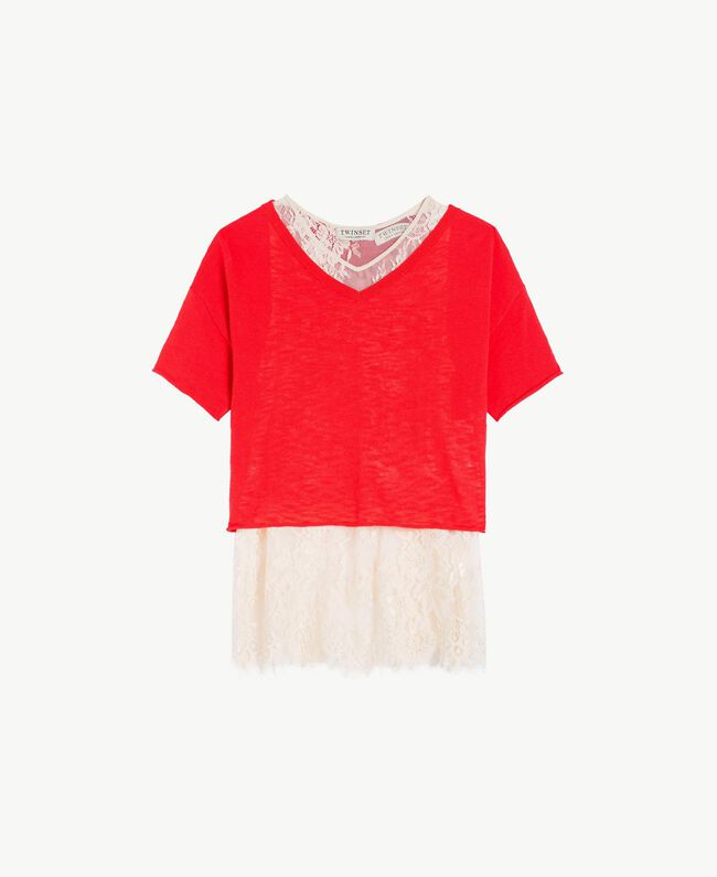 Jumper and lace top Two-tone Pomegranate Red / Chantilly Child GS83DN-01