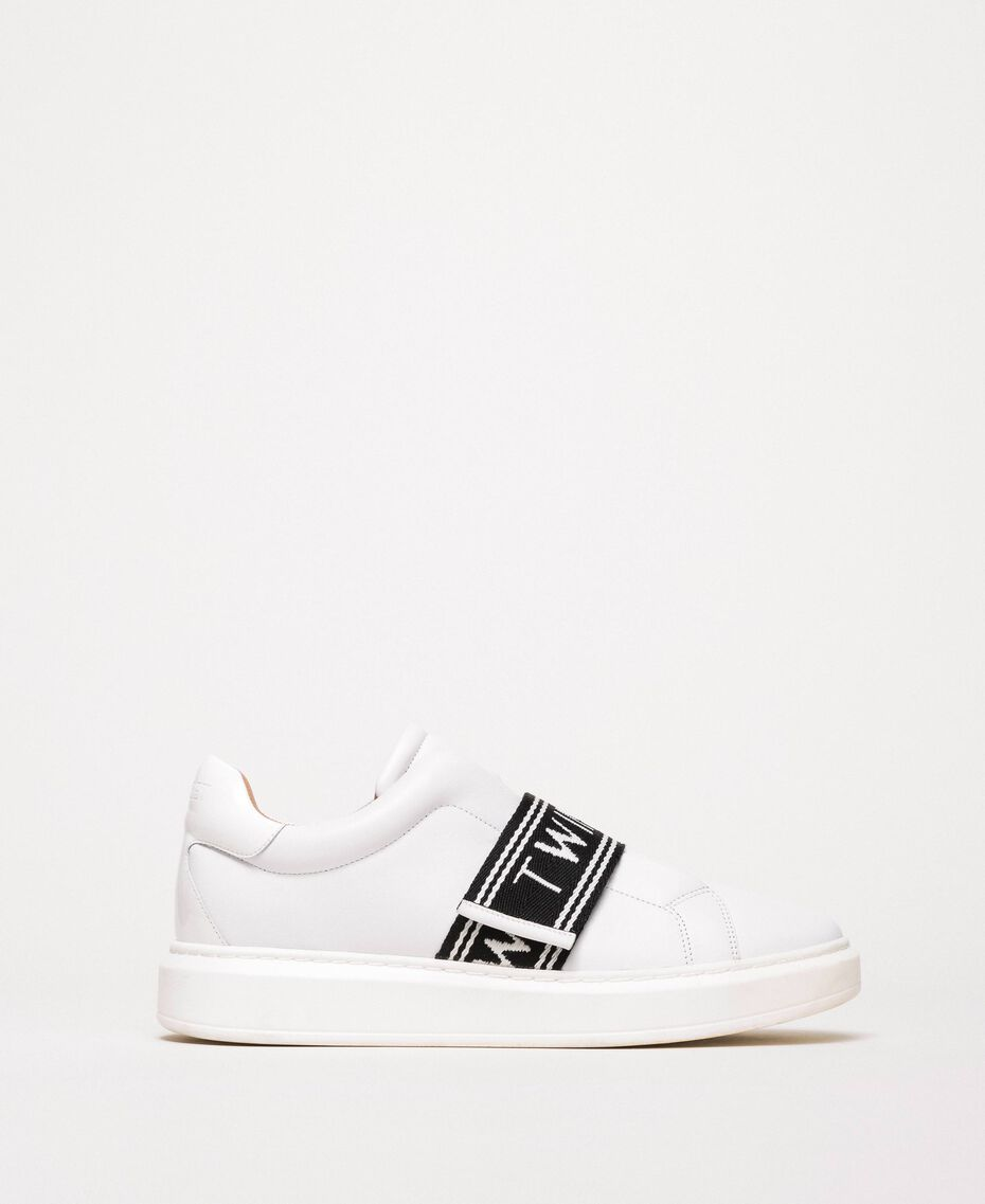 Leather trainers with logo White Woman 201TCP134-03