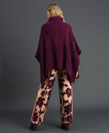 Cable and rib knit poncho Burgundy Red Woman 192MO530J-03