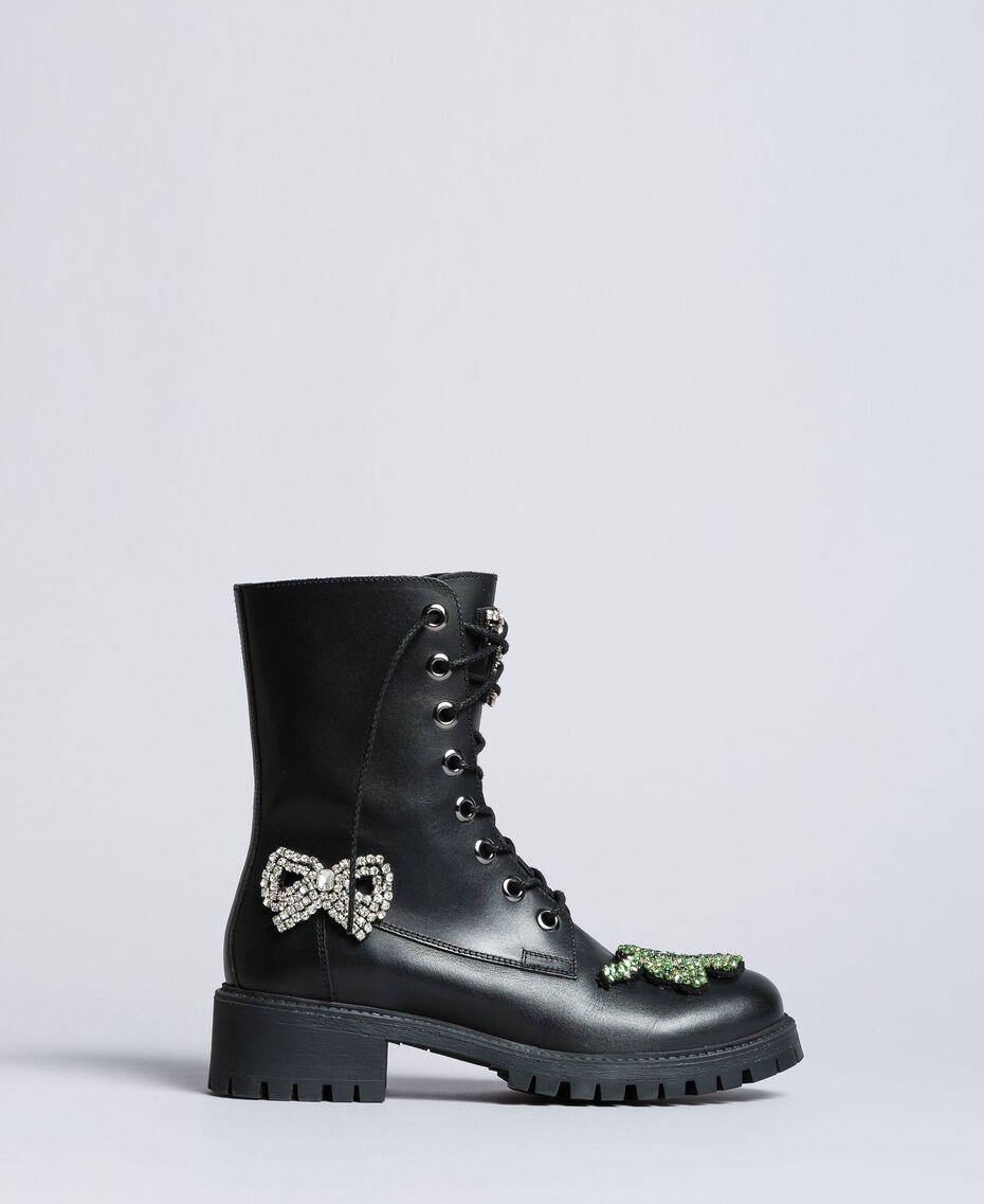 Schnürstiefelette aus Leder mit Aufnähern Schwarz Frau CA8PLN-02