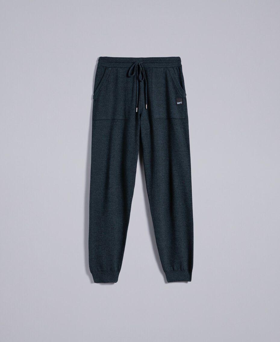 Pantaloni joggin in cotone e lana Bicolor Blue Night / Grigio Antracite Uomo UA83BC-0S