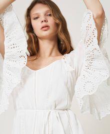 Robe Meknes épaules dénudées en mousseline avec broderie anglaise Off White Femme 211TT2701-06
