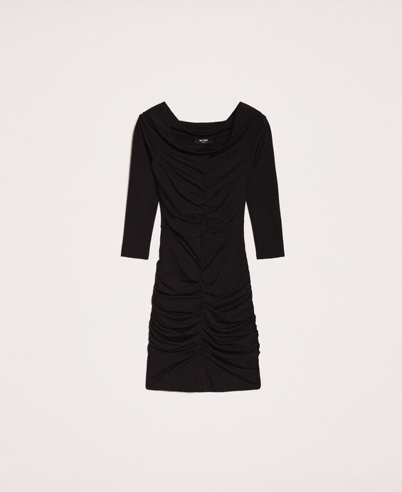 Sheath dress with gathering