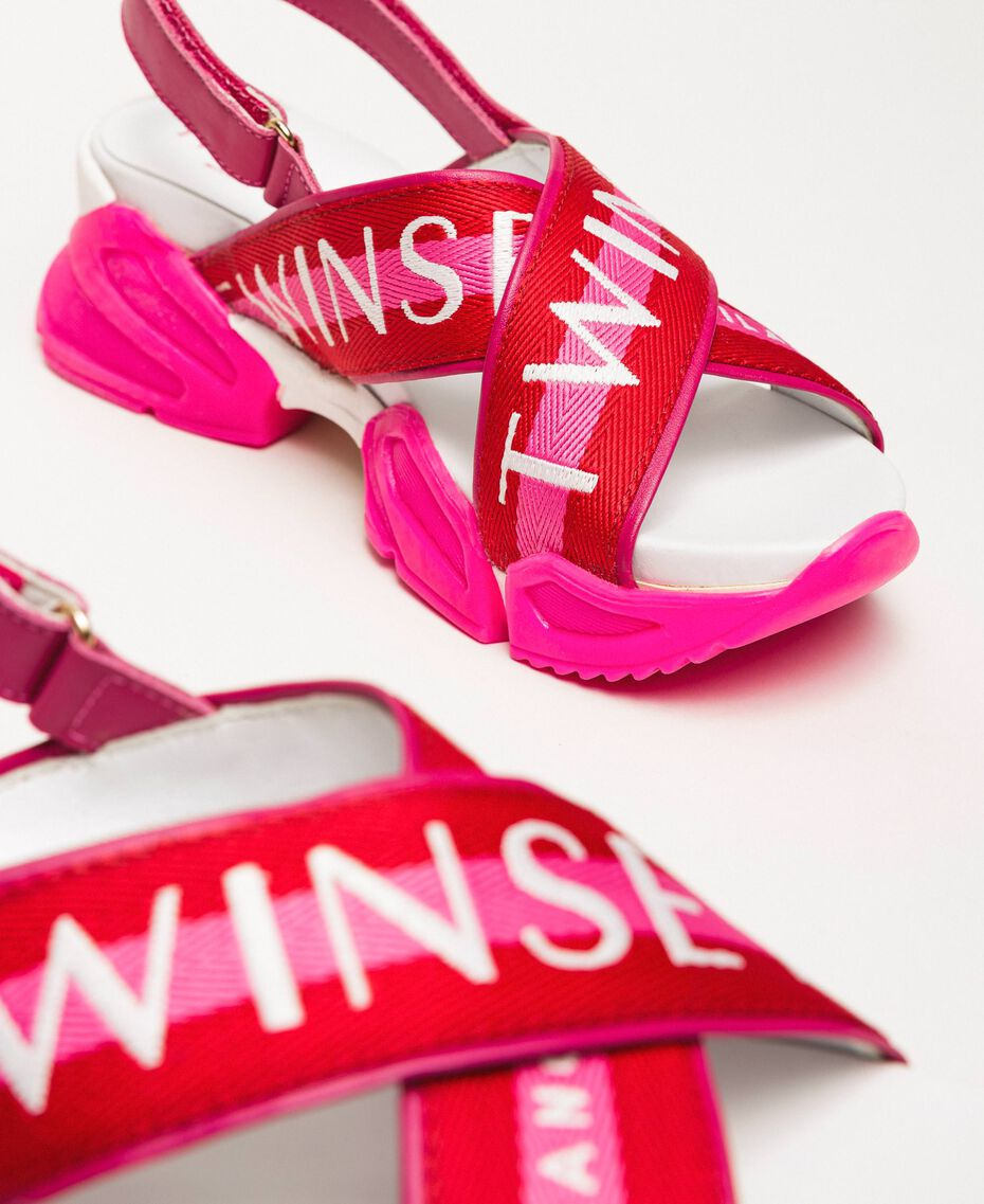 """Trainer sandals with logo bands Two-tone """"Geranium"""" Red / """"Jazz"""" Pink Woman 201TCT094-03"""