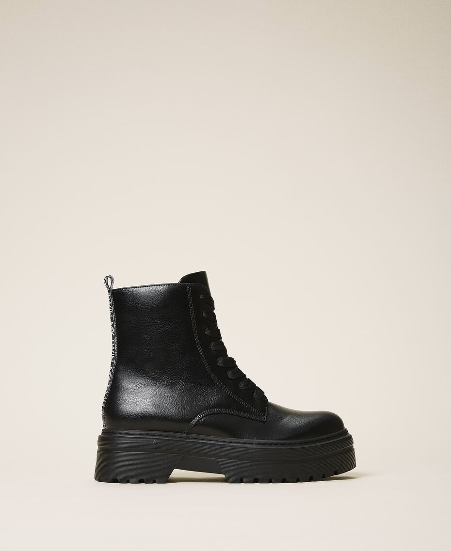 Faux leather combat boots with logo Black Woman 202MCP080-01