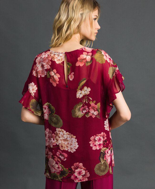 Blusa in creponne con stampa a fiori Stampa Rosso Beet Geranio Donna 192TP2720-03