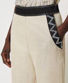 Pantalon en lin mélangé avec broderies Bicolore Beige «Dune» / Noir Brodé Femme 211TT2614-05