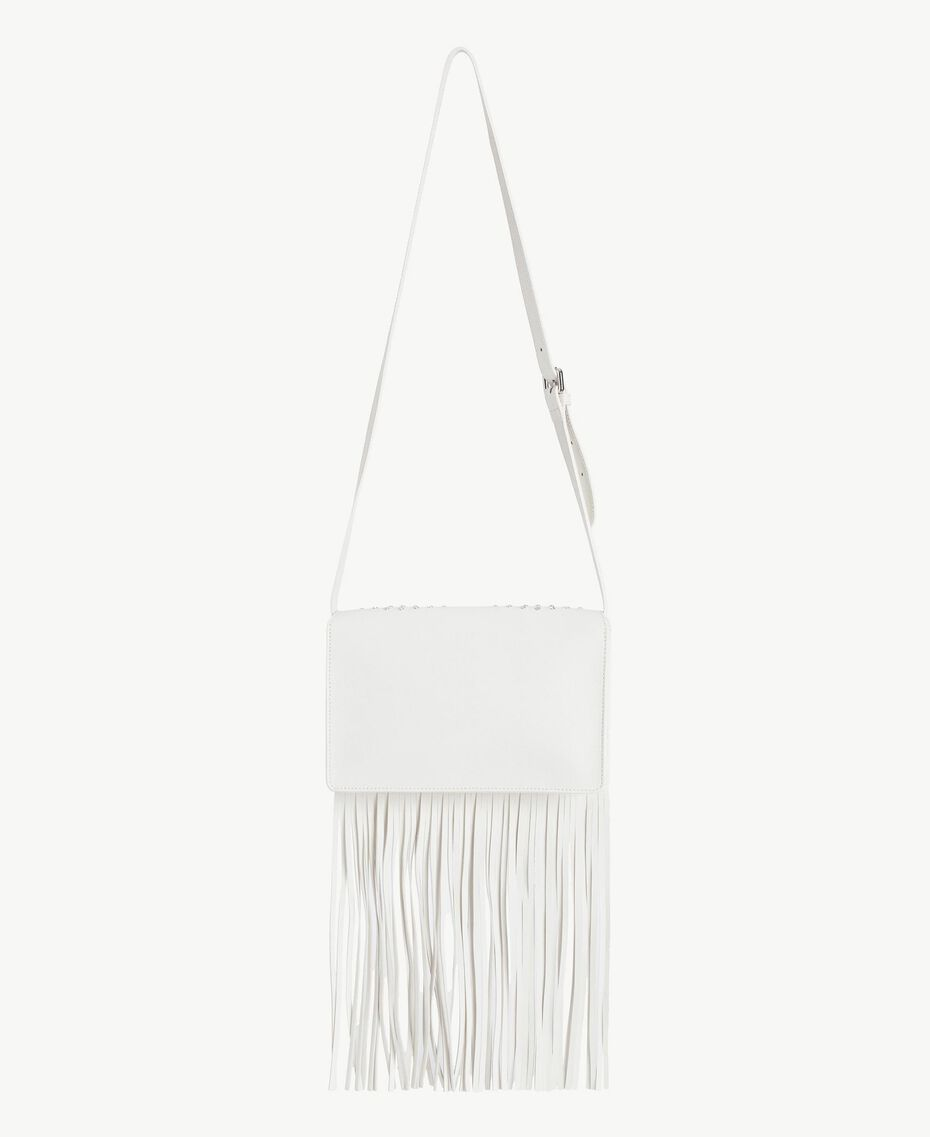 TWINSET Fringed shoulder bag Light Ivory Woman AS8PCA-03