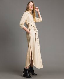 Poplin long shirt dress Beige Porcelain Woman 191MP2210-04