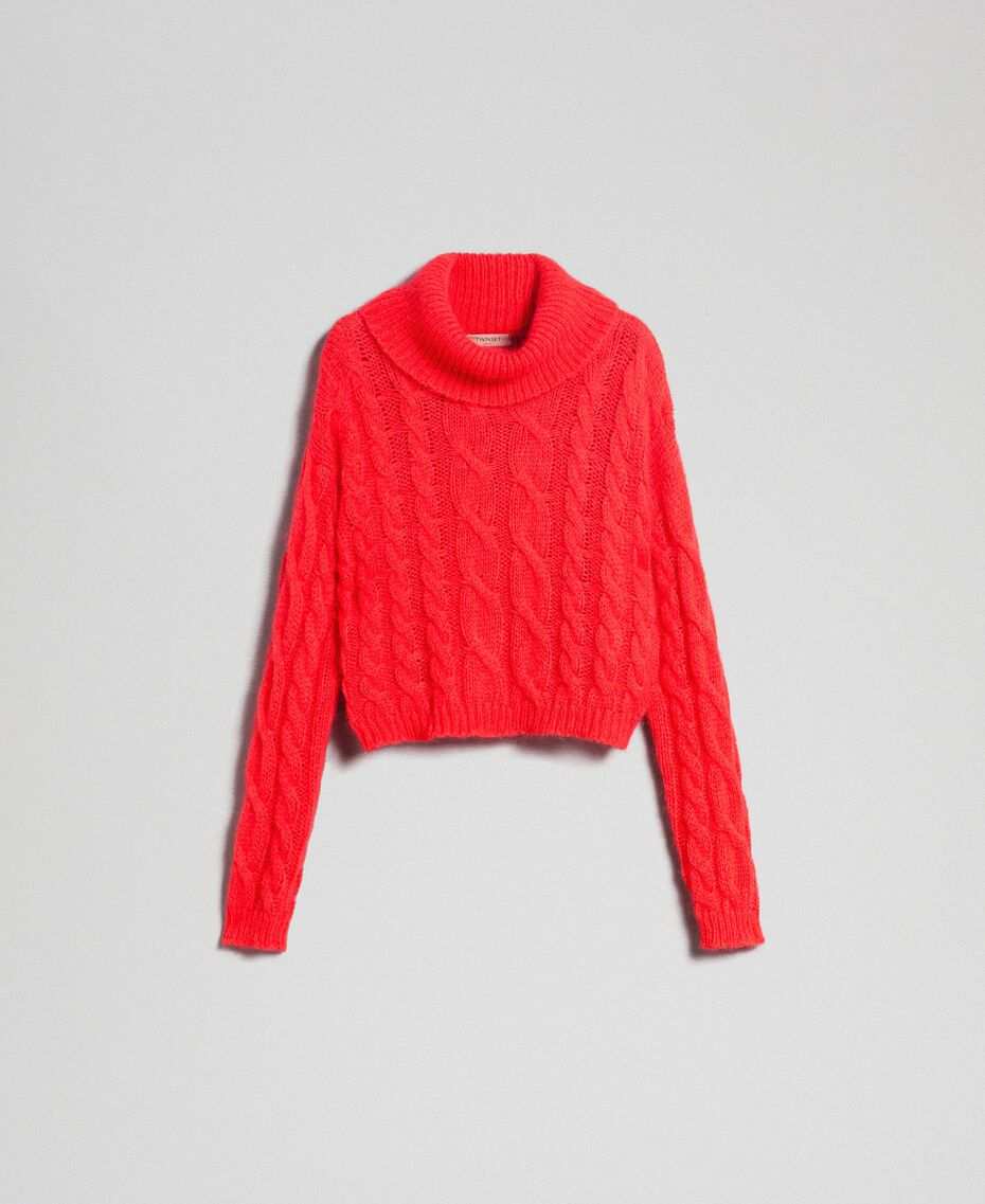 Cable knit mohair jumper Coral Pink Woman 192TT3271-0S