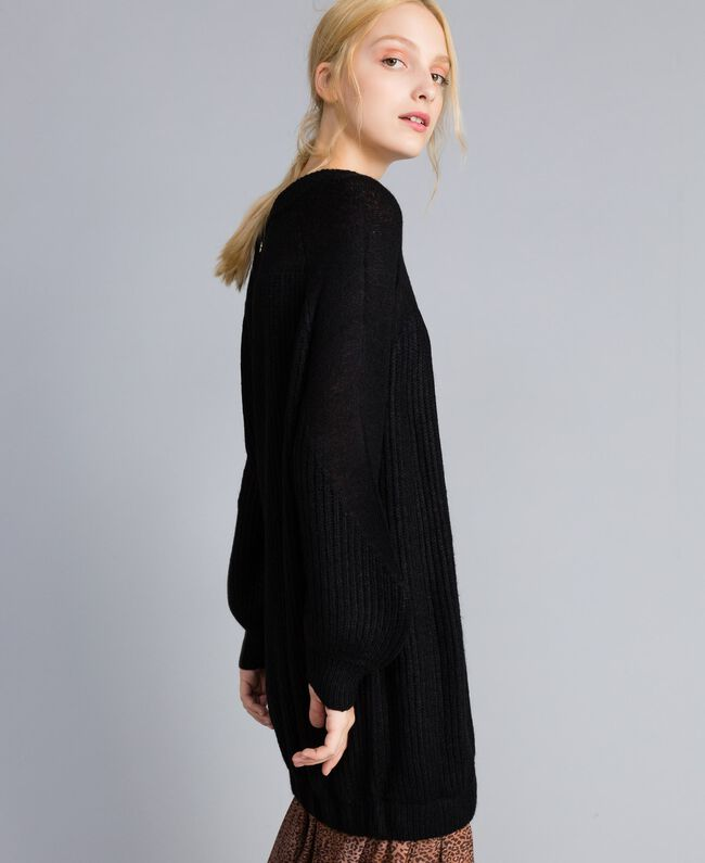 Mini-robe en mohair mélangé Noir Femme SA83BB-03