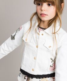 Giacca in bull stretch con ricamo Off White Bambina 191GJ2581-04