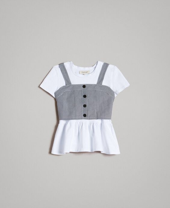 Jersey T-shirt and gingham top