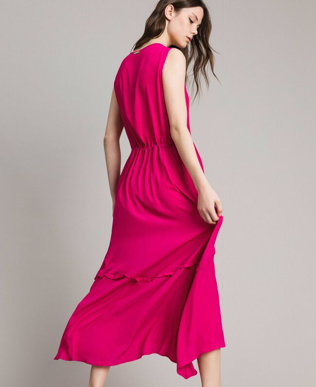 "Crepe de Chine long dress ""Psychedelic Pink"" Fuchsia Woman 191LB2LAA-03"
