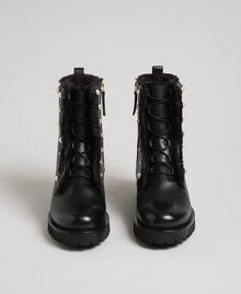 Leather combat boots with pearls Black / White Pearl Woman 192TCP034-04
