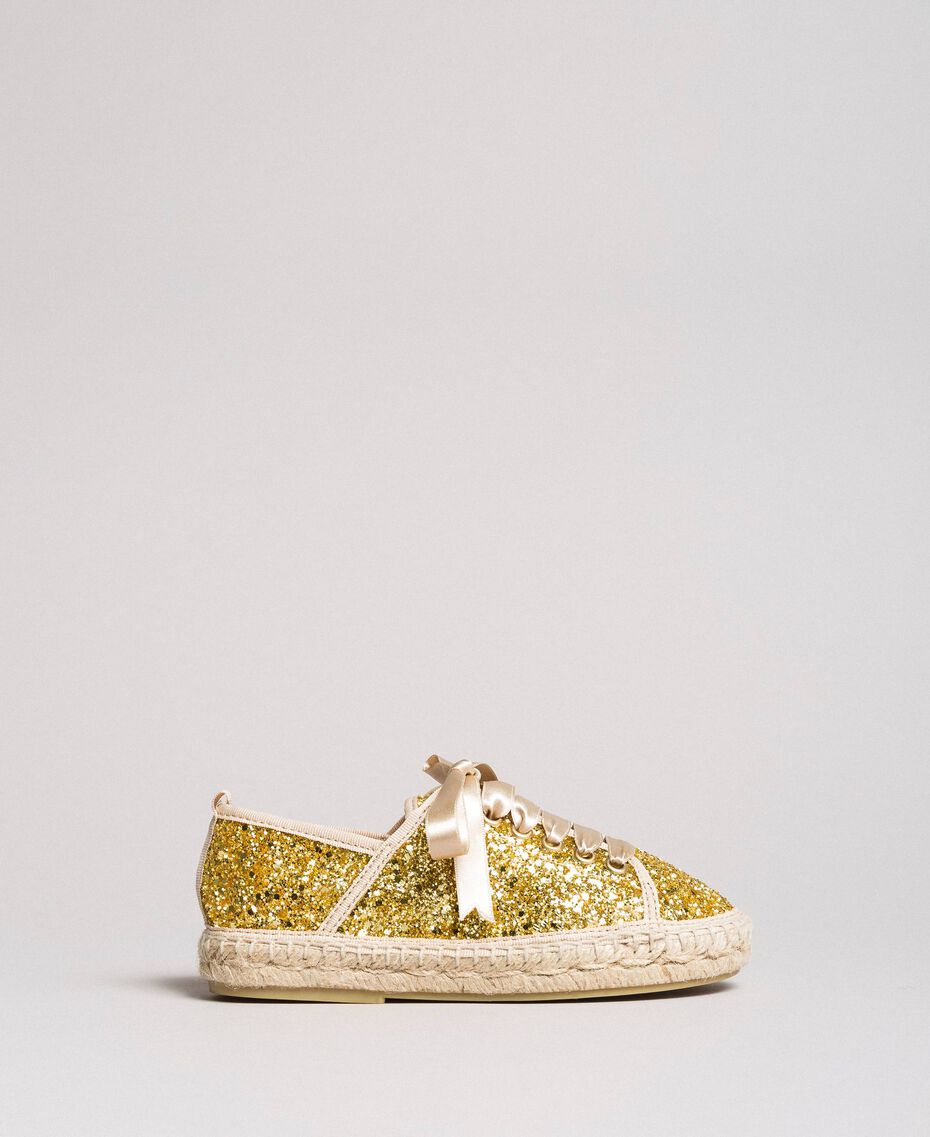 Full glitter espadrilles Gold Yellow Child 191GCJ042-02