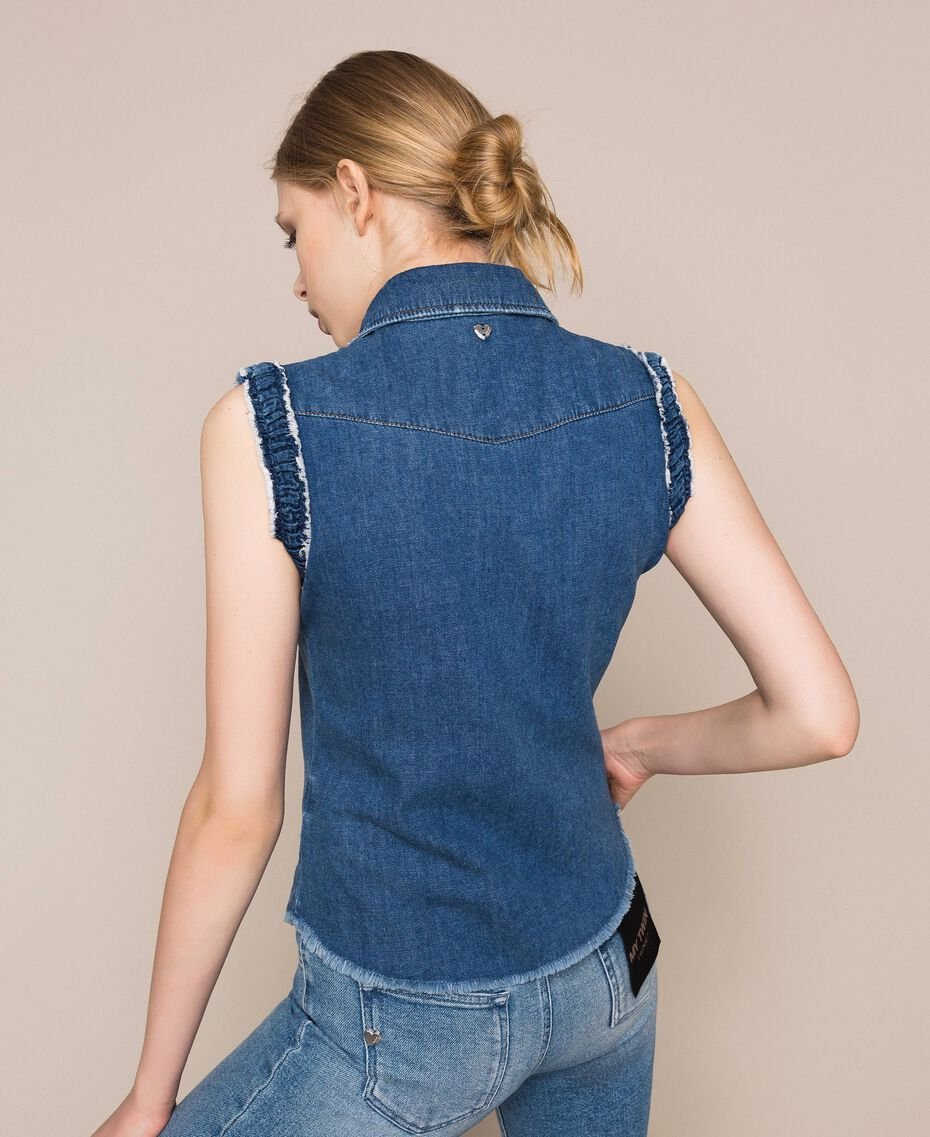 Raw cut denim shirt Denim Blue Woman 201MT2348-03