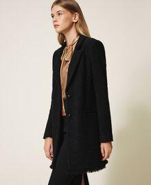 Manteau léger en laine mélangée bouclée Noir Femme 202TT217A-02