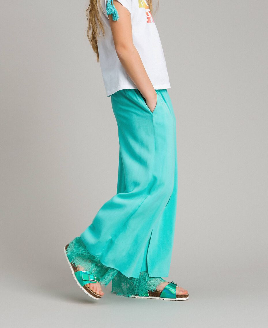 """Flowing fabric trousers with lace """"Island Paradise"""" Light Blue Child 191GJ2430-02"""