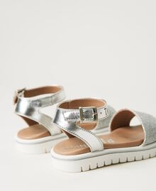 Laminated leather sandals with glitter Laminated Silver Grey Child 211GCB100-04