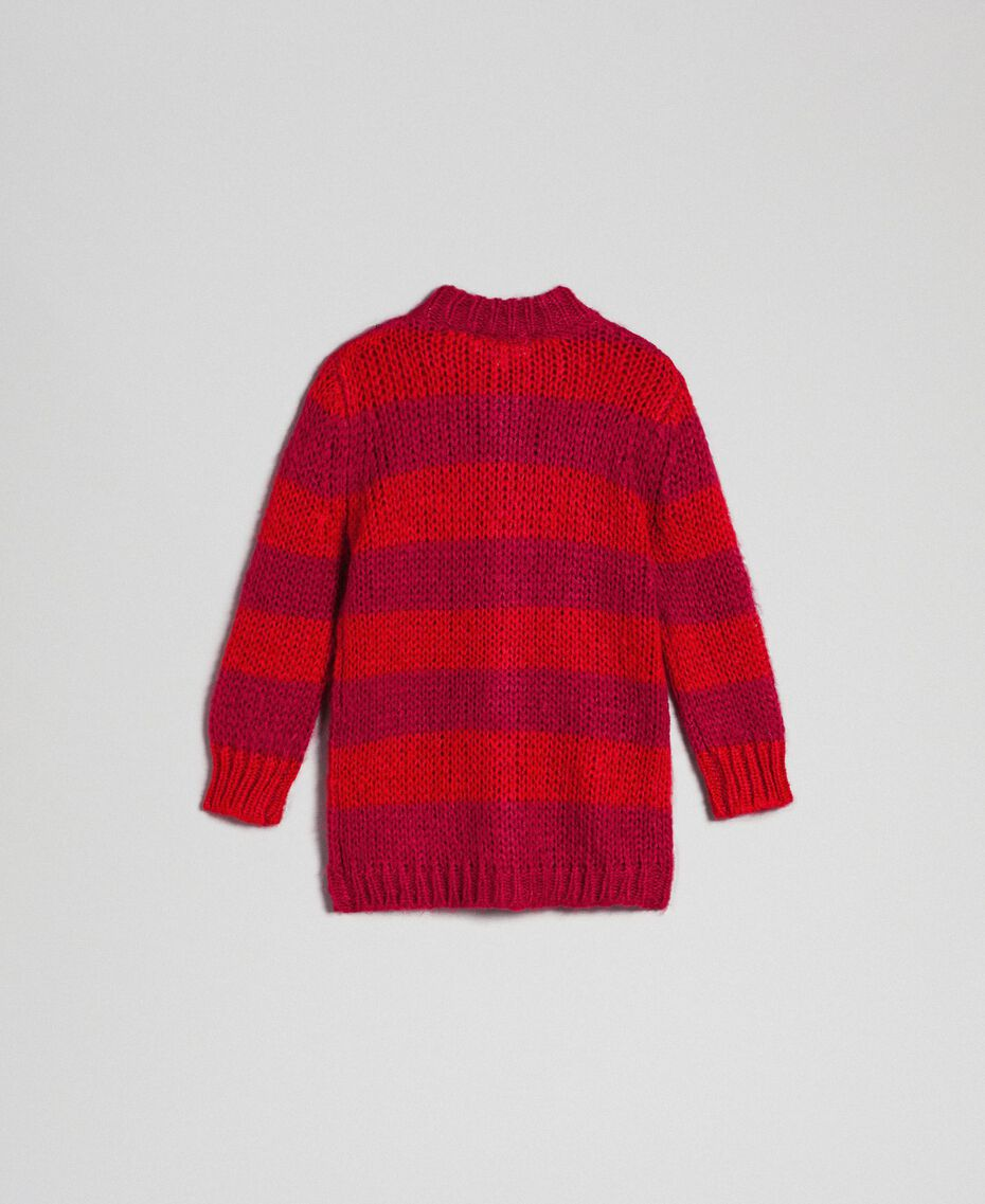 Cardigan in mohair a righe bicolore Jacquard Righe Ruby Wine / Rosso Bambina 192GB3130-0S