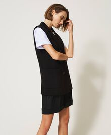 Oversize waistcoat with pockets Black Woman 211MT2360-03