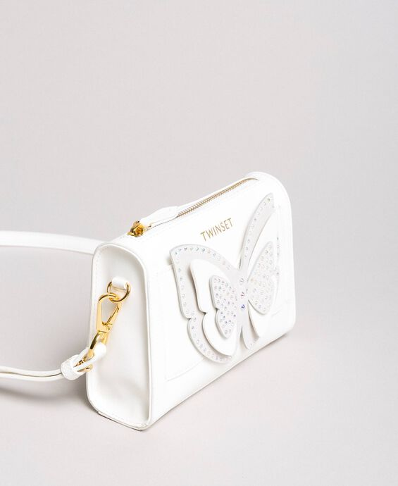 Faux leather shoulder bag with butterfly