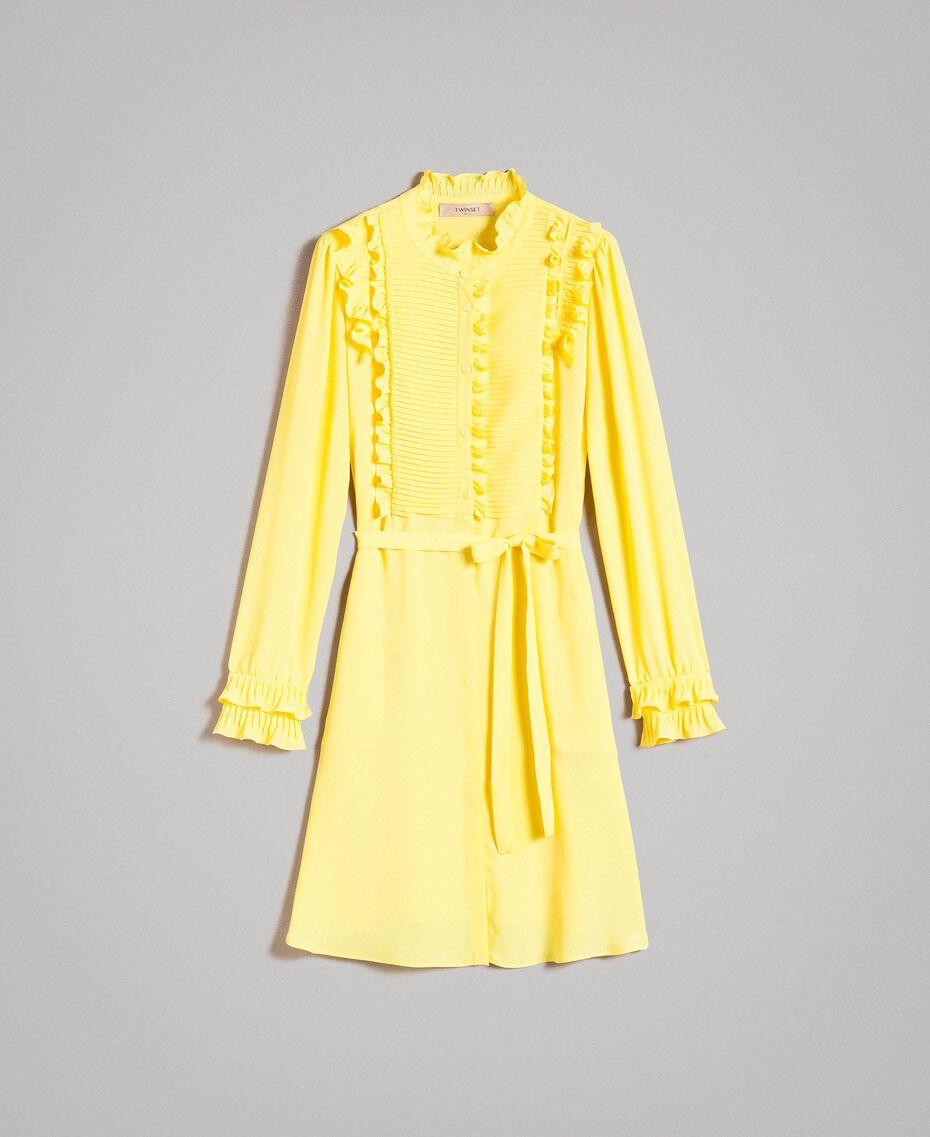Hemdblusenkleid aus Seidenmischung mit Rüschen Gelb Frau 191TP2137-0S