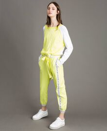 "Jumper with lace-effect print Two-tone Optical White / ""Lemon Juice"" Yellow Woman 191LL36BB-01"
