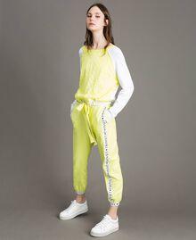 """Pull avec imprimé effet dentelle Bicolore Blanc Optique / Jaune """"Jus de Citron"""" Femme 191LL36BB-01"""