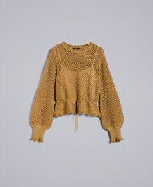 Pullover aus Lurex mit Netzmuster Gold Gelb Frau TA83EB-0S
