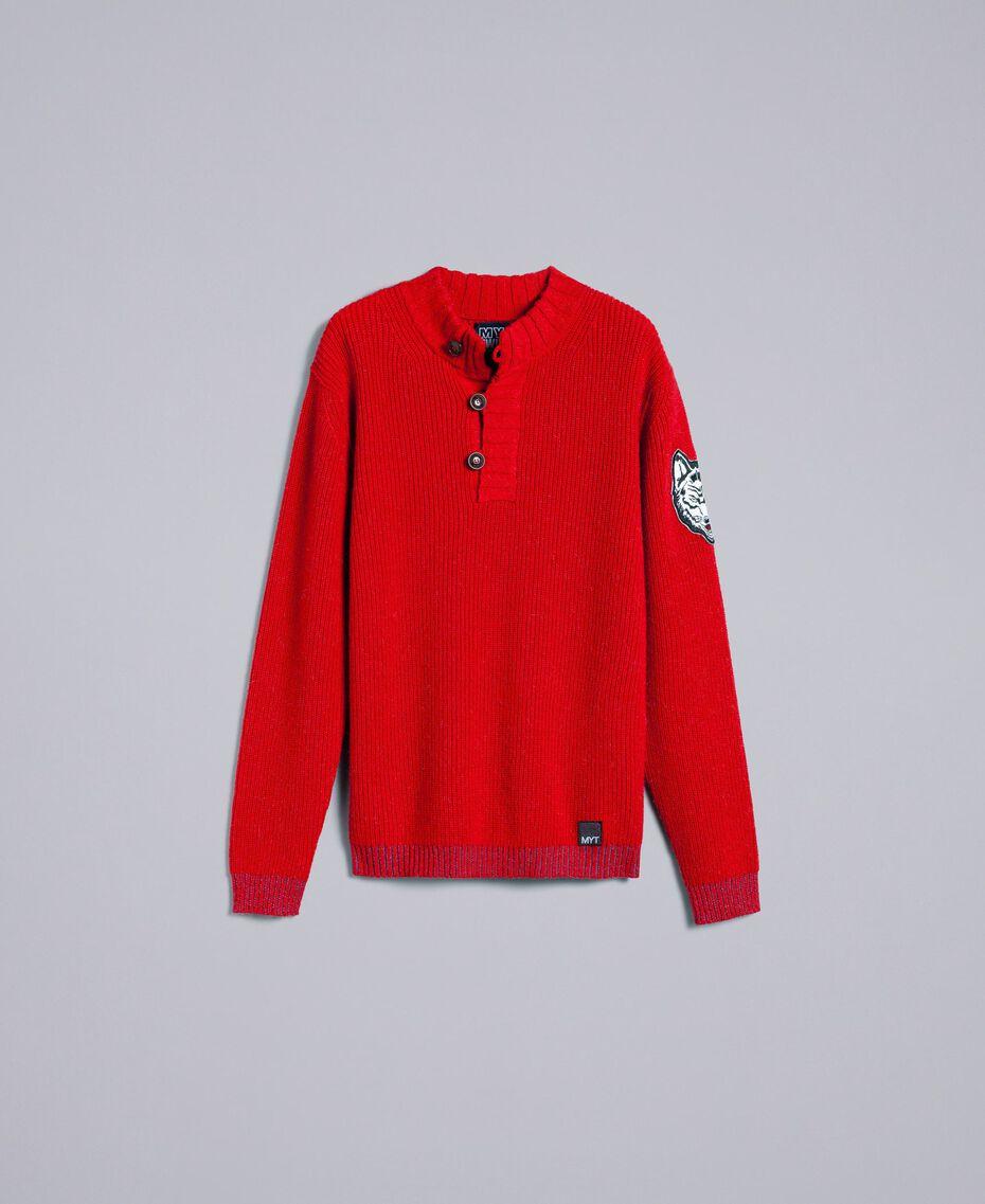 Pull en laine et alpaga Rouge Coquelicot Homme UA83DC-0S