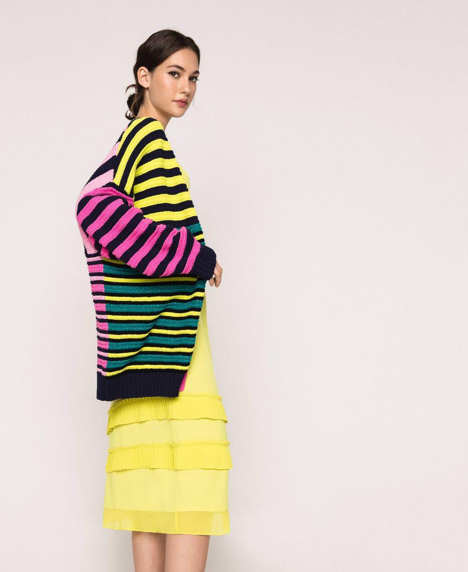 Maxicardigan mit mehrfarbigen Streifen Multicolor Frau 201ST3100-02