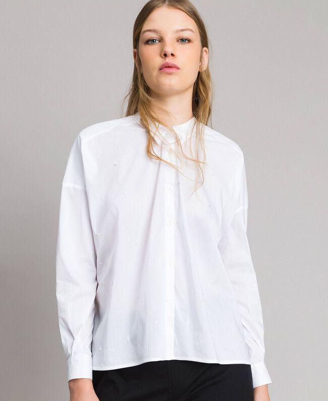 Popeline Hemd mit Spitze Frau, Schwarz | TWINSET Milano