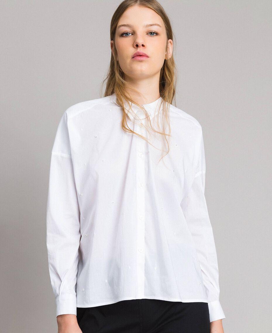 Рубашка из поплина с вышивкой под горошек Сливочный White женщина 191MP2194-01