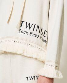"""Sweatshirt mit Logo und Fransen """"Butter Cream""""-Weiß Frau 211LL2VGG-04"""