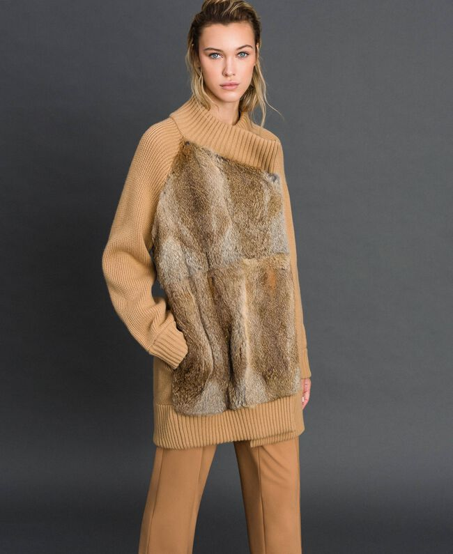 "Knitted coat with rabbit fur inserts ""Iced Coffee"" Brown Woman 192TP3020-01"