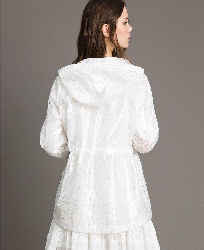 Parka en toile cirée et dentelle Blanc Femme 191MT2100-01