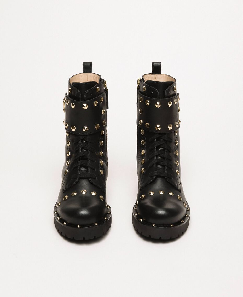 Leather combat boots with studs Black Woman 999TCP020-05