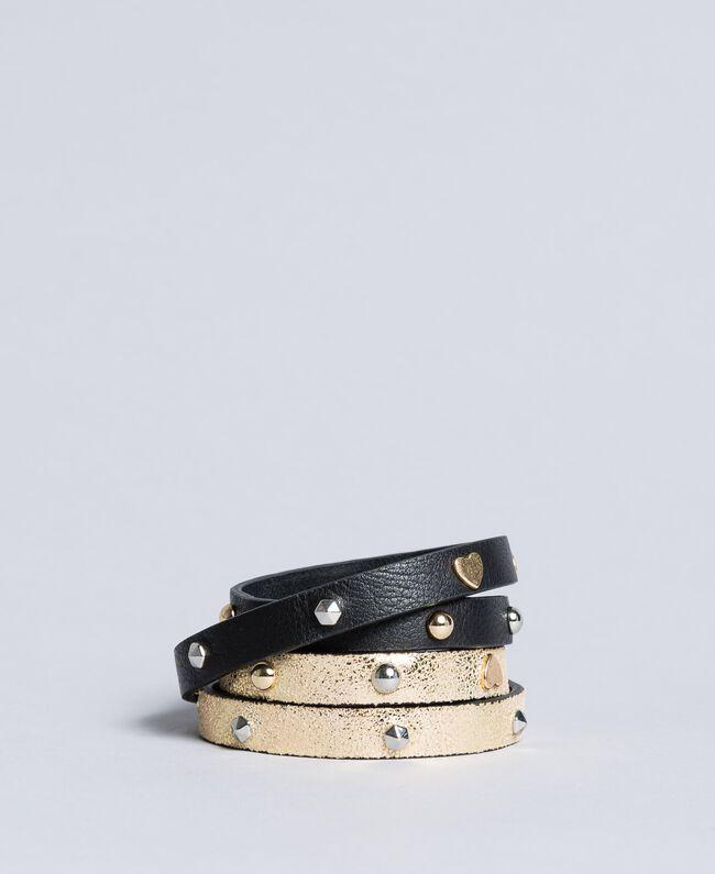 Bracciale in pelle con lamina e borchie Bicolor Nero / Oro Donna AA8P8K-01