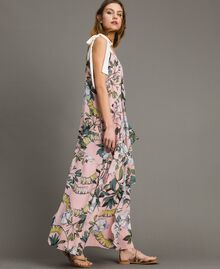 """Georgette-Maxikleid mit Blumenmuster Motiv Exotisch """"Soft Pink"""" Frau 191ST2223-02"""