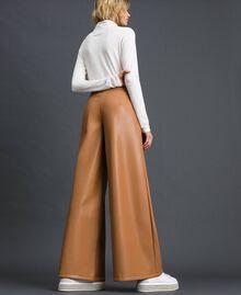"Faux leather palazzo trousers ""Camel Skin"" Beige Woman 192LI2ECC-03"