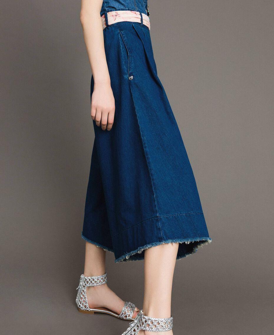 Jean à coupe large et taille haute Bleu Denim Femme 191MT2422-02