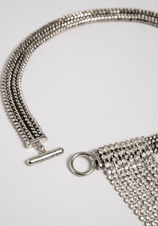 Chain choker with rhinestones