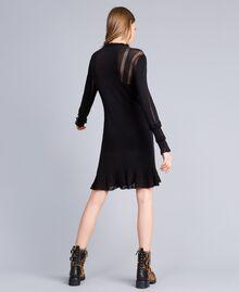 Kleid aus Viskose und Baumwolle mit Spitze Schwarz Frau TA83FB-03