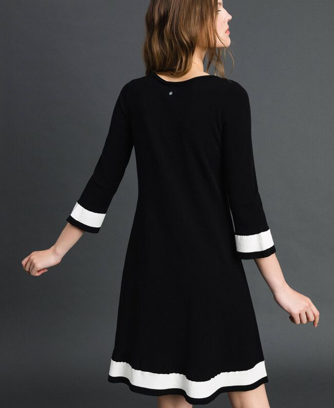"Contrasting band dress Black / ""Papyrus"" White Woman 192TP3102-03"